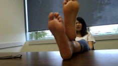 Sexy Asian naked foot fetish action